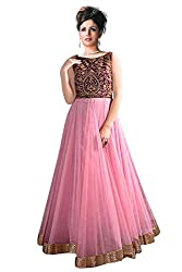 Clickedia Women Net Embroiderd Pink Semi Stitched Gown