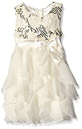 American Princess  Girls\' Sequin Corkscrew Dress, Candlelight, 7