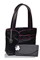 Butterflies Women's Handbag (Black) (BNS MJ021)
