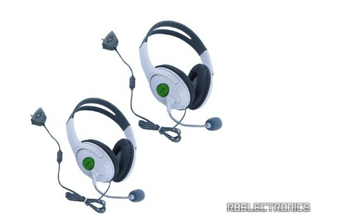 (Set Of 2) White Xbox 360 Gaming Headsets With Microphones