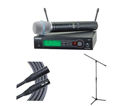Shure SLX24/SM58 (Band G5) Wireless Microphone + Ultimate Stand + Mogami Cable