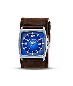 Kahuna Men's Quartz Watch with Blue Dial and Analogue Display and Brown Leather Cuff KUC-0029G