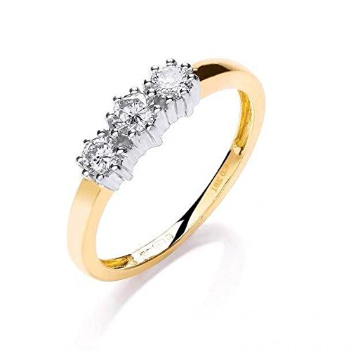 JQS - 18ct Yellow Gold 0.33 Carat Diamond H/Si Trilogy Engagement Ring Boxed