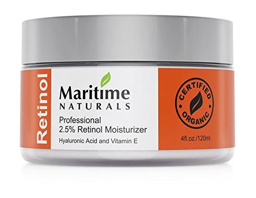 Maritime Naturals Crema Idratante al Retinolo con Acido Ialuronico e Vitamina E, Dal Canada la Cura professionale Naturale per la Pelle - 120 ml