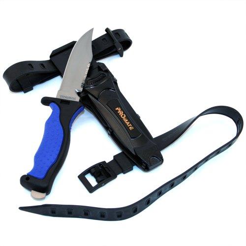 Promate Sharp Tip Titanium Dive Knife - KF593, Blue/Black, Sharp Tip