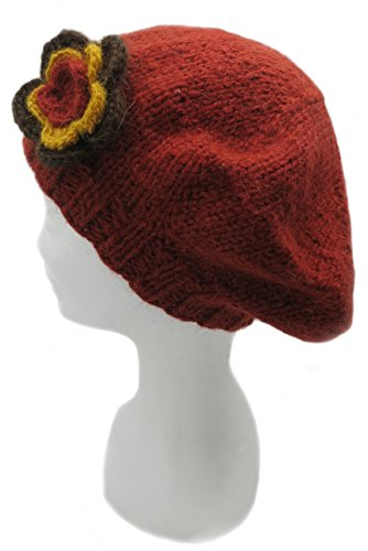 Handmade Artisan Pure Alpaca Beret Hat – Terracotta Orange (100% Knitted By Hand)