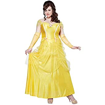 Classic Beauty Womens Plus Size Costume Adult Belle Beast Disney Princess