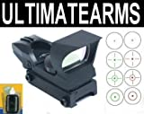 Ultimate Arms Gear Tactical CQB 4 Reticle Dual Red / Green Open Reflex Sight with Integral Sunshade And Rifle Shotgun Pistol Crossbow Weaver-Picatinny Rail Mount Includes Battery And Lens Cleaning Kit