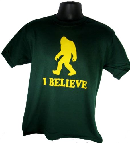 I Believe Sasquatch Bigfoot Yeti Funny Adult Green T-Shirt Shirt Tee ()