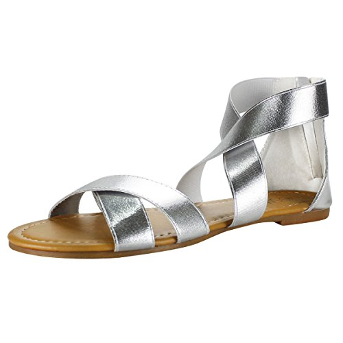 Sandalup Women's Elastic Ankle Strap Flat Sandals Silver Size 05