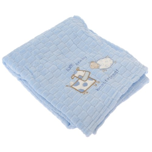 Baby Cow And Sheep Design Soft Pram Blanket/Shawl -Unisex/Boy/Girl Options (76cm x 100cm) (Blue)