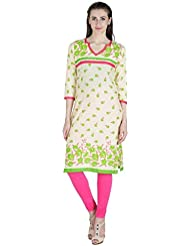 Agroha Women's Printed Cotton Straight Long Kurti 3/4 Sleeves