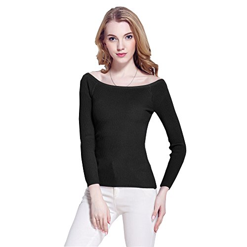 Daysoft Women Off shoulder Long Sleeve sweater (one size, B) (Ninja Neck Sweater compare prices)