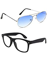 Unisex Uv Protected Combo Pack Of Aviator Sunglasses And Clear Wayfarer Sunglasses ( Silver Blue - Clear Black...