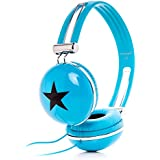 RockPapa Over Ear Boys Girls Kids Childs Star DJ Headphones Adjustable for MP3 MP4 DVD Laptop PC iPod iPad mini 1 2 / iPad Air 2 3 4 / iPhone Blue