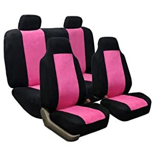 FH-FB105114 Classic Suede Car Seat Covers Pink / Black color: Automotive