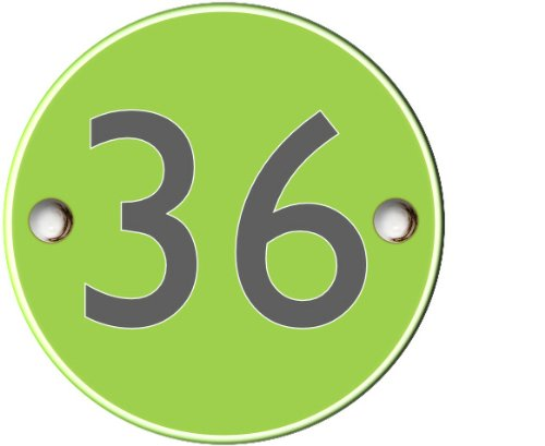 Modern contemporary acrylic green round house number - 1 to 999 available