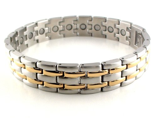 Silver & Gold Stainless Steel Link Magnetic Bracelet #39GS 8