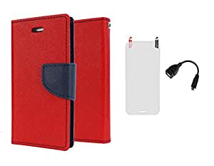 D'clair Combo of Flip Cover with Clear Screen Guard and OTG Cable for Samsung Galaxy Grand Max Red