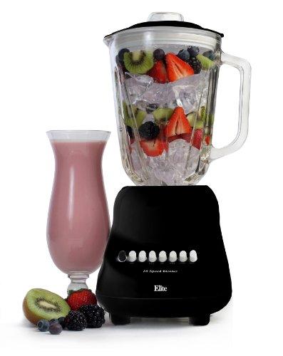 MaxiMatic EBL-2000GB Elite Gourmet 10-Speed Blender with 48-Ounce Glass Jar, 450-watt, Black
