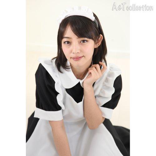 【A&TCollection】AKIBAメイドダブルカチューシャ 黒 リボンカチューシャ&メイドカチューシャの2本付き