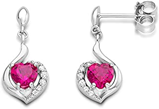 Byjoy 925 Sterling Silver Heart Shape Ruby Dangle Earrings BAE090E