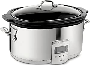 All-Clad 99009 Polished Stainless Steel 6.5-Quart Slow Cooker with Black Ceramic Insert with 26 Hour Max Cycle Time Kitchen Electrics, Silver