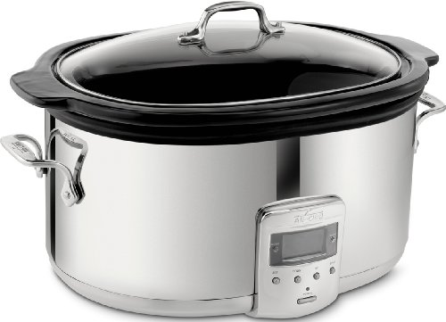 All-Clad SD700450 Programmable Oval-Shaped Slow Cooker with Black Ceramic Insert and Glass Lid, 6.5-Quart, Silver (7qt Crock Pot Ceramic Replacement compare prices)
