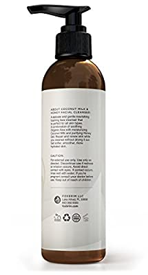 Coconut Milk & Honey Face Cleanser - Natural & Organic - Gently Cleanse and Renew Skin While Moisturizing - With Soothing Organic Aloe, Hydrating Coconut Milk and Purifying Honey Gel - Foxbrim 6OZ