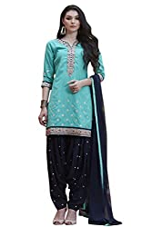 Kvsfab Green & Blue Pure Cotton embroiderd patiala un-stitched dress Material