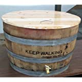 Oak wine barrel cooler with lid, natural