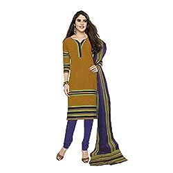 Stylish Girls Women Cotton Printed Unstitched Dress Material SG230_KHAKI_Free size)