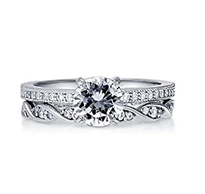 Pretty Jewellery White Gold Over Sterling Silver Diamond Engagement Wedding Band Bridal Rings Set (5)