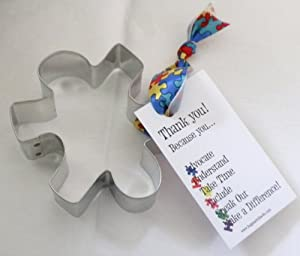 Autism Puzzle Piece Cookie Cutter with Ribbon and Card