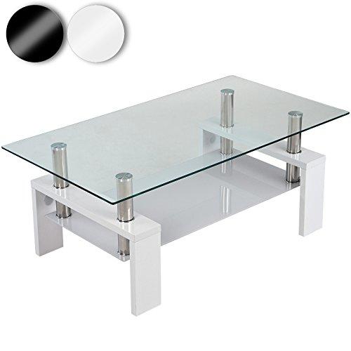 Miadomodo table basse avec plaque en verre 110 x 60 x 45 cm blanc meilleures ventes for Plaque verre table