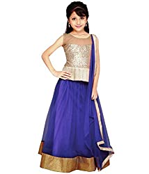 The Fashionup blue semistitched LenghaCholi for12-13year Girls