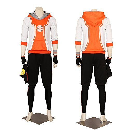 Men's Pokemon Go Trainer Hoodie Orange Team Valor Instinct Mystic Costume Small