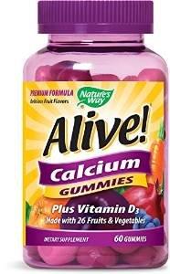Natures Way Alive! Calcium Gummies Plus Vitamin D3 - 60 Gummies Gluten Free and Vegetarian Friendly