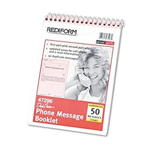 Rediform RED47296 Pink Spiral Phone Message Book
