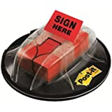 "Post-it Message Flags, ""Sign Here"", Red, 1-Inch Wide, 200/Desk Grip Dispenser, 1-Dispenser/Pack"