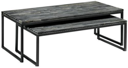 Reclaimed Wood Coffee Table, NESTED, WEATHERED GRAY