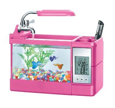 iBRIGHT - Aquarium, Real fish tank, alarm clock (Pink) with UL Adaptor