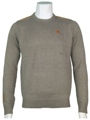 New Kangol Mens Crew Neck Knitted Jumper, In Taupe Marl Size Large - Style Grober - K604387