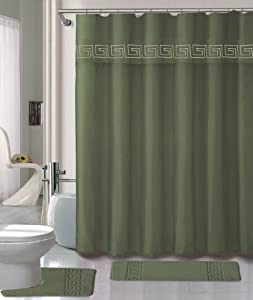 Sage Green Shower Curtain Set 4 Piece Set With Rugs And Rings 0040 Home Kitchen
