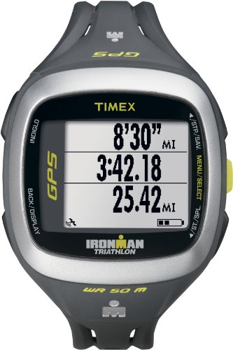 Timex T5K745 Ironman Run Trainer GPS Watch, Grey/Green Running Gps