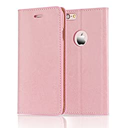 Belemay Slim Cowhide Leather Flip Wallet Case with Card Holder for iPhone 6S / 6 - Pink