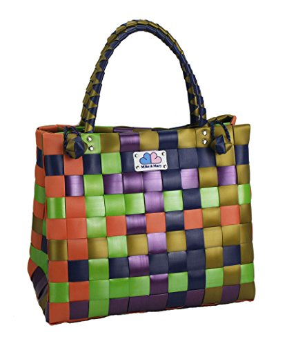 Mike & Mary Foldable Shopping Bags Basket Braided Plastic Handbag Fashion Washable Grocery Bag (fruit) (Costco Shop Vac compare prices)