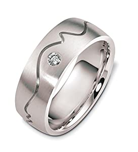 Mens 10K White Gold, Heart Beat 8MM Wedding Band, 1/10 cttw