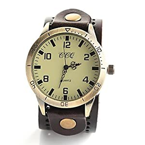 Men's Vintage Style Big Dial Leather Band Quartz Analog Wrist Watch (Assorted Colors) ( Color : Black )