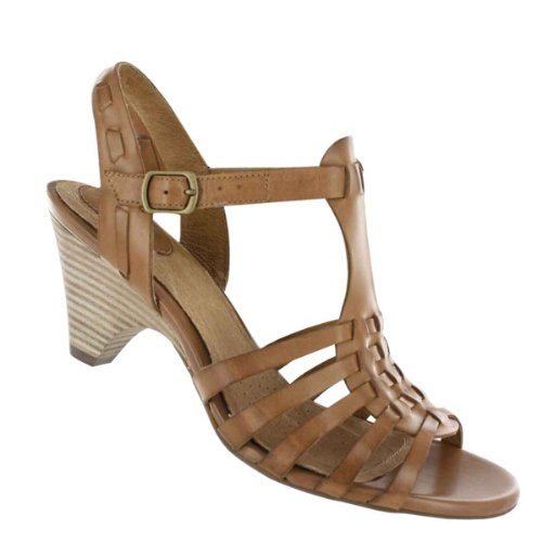 Clarks Women's Evant Emma Wedge Sandal,Light Brown Leather,8 M US
